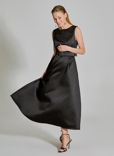 People By Fabrika Saten Kemerli Abiye Elbise Siyah